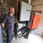 Colin with the new biomass boiler 2011